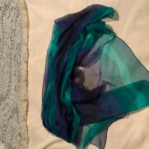 Gucci Oblong Silk scarf - sheer blues and greens -
